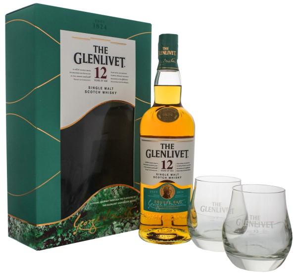The Glenlivet 12 Jahre Double Oak Single Malt Whisky 0,7L 40% inkl. 2 Gläser