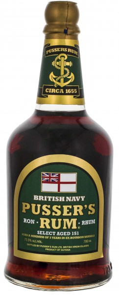 Pusser's British Navy Overproof Rum Select Aged 151 Green Label 0,7L 75,5%