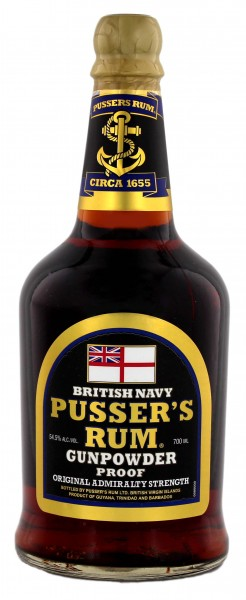 Pusser's British Navy Rum Black Label Gunpowder proof