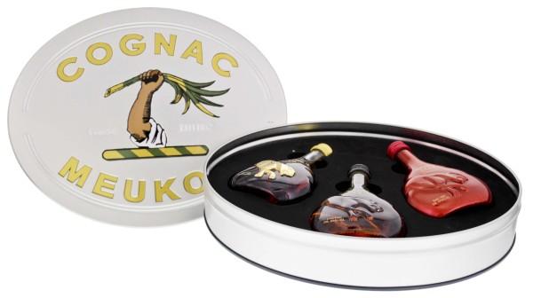 Meukow Cognac Geschenkset mit 3 Miniaturen (VS, VSOP u. XO) 3x0,05L 40%