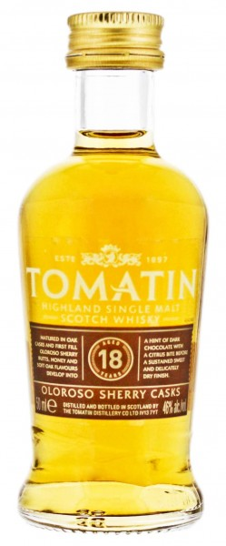 Tomatin Single Malt Whisky 18 Years Old Miniature 0,05L 46%